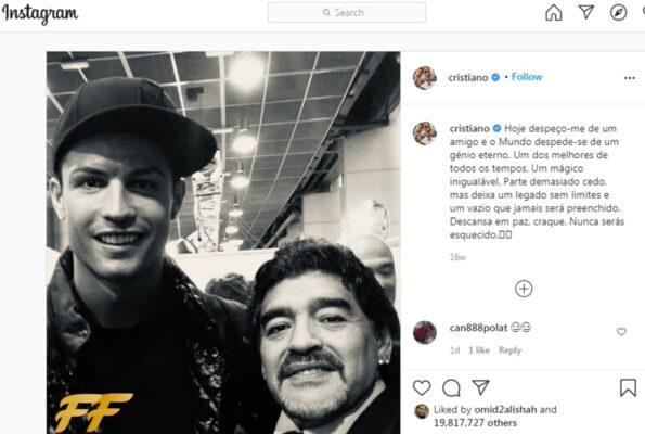 Ronaldo and Maradona post on Instagram
