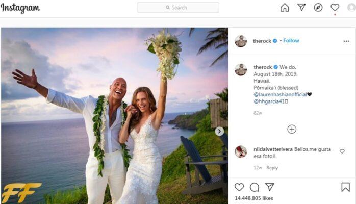 The Rock post on Instagram